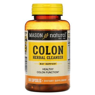 Очищающее травяное средство для кишечника, Colon Herbal Cleanser, Mason Natural, 100 капсул