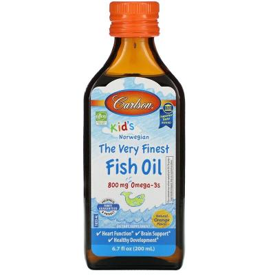 Рыбий жир для детей, вкус апельсина, Fish Oil, Carlson Labs, 800 мг, 200 мл (6,7 жидк. унции)