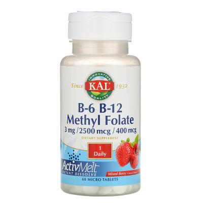 Витамин B12 + B6 фолиевая кислота, ягоды, Vitamin B-6 B-12 Folic Acid, 3 мг / 2500 мкг / 400 мкг,  KAL, 60 таблеток