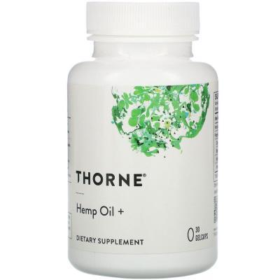 Конопляное масло, Hemp Oil, Thorne Research, 30 гелевых капсул