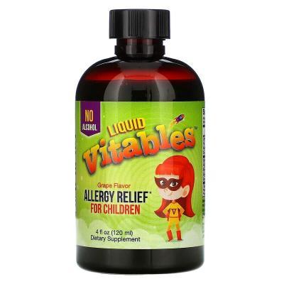 Детская жидкая противоаллергическая добавка, без спирта, со вкусом винограда, Vitables, 120 мл (4 жидк. унции)