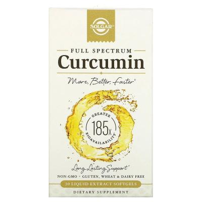 Куркумин, Full Spectrum Curcumin, Solgar, 30 желатиновых капсул с жидким экстрактом