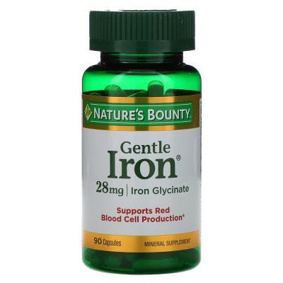 Железо, Gentle Iron, Nature's Bounty, 28 мг, 90 капсул