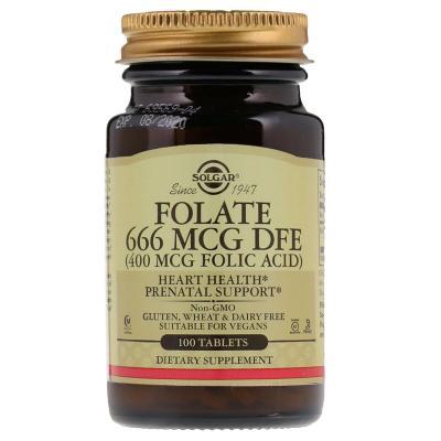 Фолиевая кислота (Folic Acid), Solgar, 400 мкг, 100 таблеток