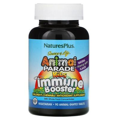 Укрепление иммунитета, Kids Immune, Nature's Plus, Source of Life Animal Parade, тропические ягоды, 90 животных