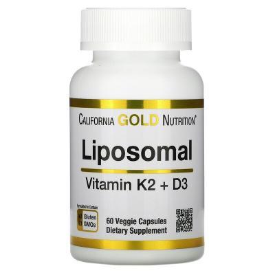 Липосомальные витамины K2 и D3, Liposomal Vitamin K2 + D3, California Gold Nutrition, 60 вегетарианских капсул