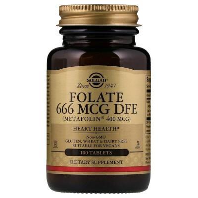 Фолиевая кислота, Folate As Metafolin, Solgar, метафолин, 400 мкг (666 мкг DFE), 100 таблеток