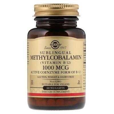Витамин В12 (метилкобаламин), Vitamin B12, Solgar, 1000 мкг, 60 наггетсов