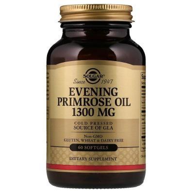 Масло вечерней примулы (Evening Primrose Oil), Solgar, 1300 мг, 60 капсул
