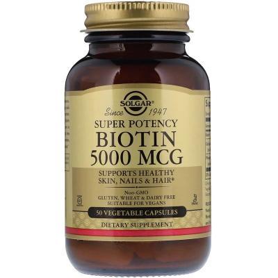Биотин, Biotin, Solgar, 5000 мкг, 50 капсул