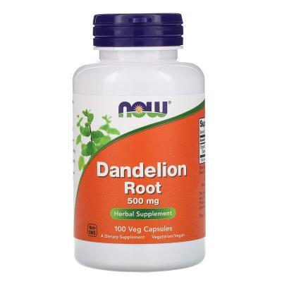 Корень одуванчика, Dandelion Root, Now Foods, 500 мг, 100 капсул