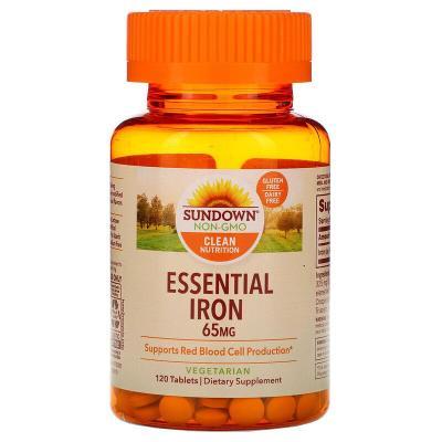 Незаменимое железо, Essential Iron, Sundown Naturals, 65 мг, 120 таблеток