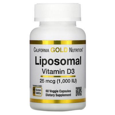 Липосомальный витамин D3, Liposomal Vitamin D3, California Gold Nutrition, 25 мкг (1000 МЕ), 60 растительных капсул