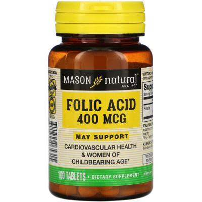 Фолиевая кислота, Folic Acid, Mason Natural, 400 мкг, 100 таблеток