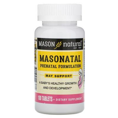 Мультивитамины и минералы для беременных, Masonatal Prenatal Formulation, Mason Natural, 100 таблеток