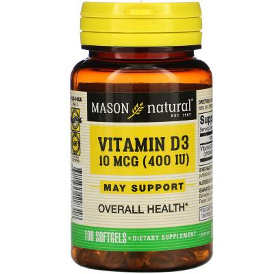 Витамин Д3, Vitamin D3, Mason Natural, 10 мкг (400 МЕ), 100 мягких таблеток
