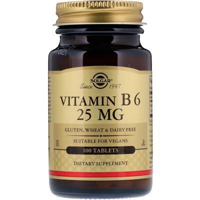 Витамин В6, Vitamin B6, Solgar, 25 мг, 100 таблеток