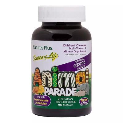 Мультивитамины для детей, вкус винограда, Animal Parade Gold, Natures Plus, 90 жевательных таблеток