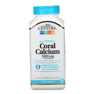 Коралловый кальций, Coral Calcium, 21st Century, 1000 мг, 120 капсул