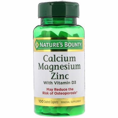 Кальций, магний и цинк с витамином D3, Calcium Magnesium Zinc with Vitamin D, Nature's Bounty, 100 капсуловидных таблеток в оболочке