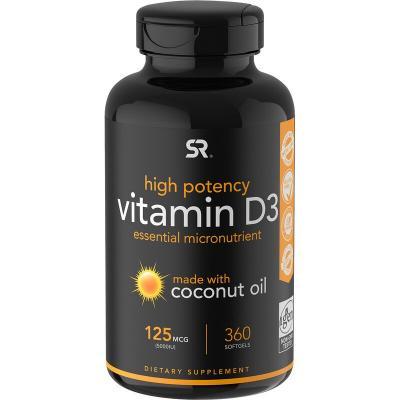 Витамин D3 с кокосовым маслом, Sports Research, 125 мкг (5000 МЕ), 360 мягких таблеток