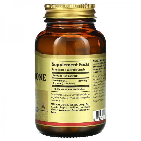 Восстановленный L-глутатион, Reduced L-Glutathione, Solgar, 250 мг, 60 растительных капсул