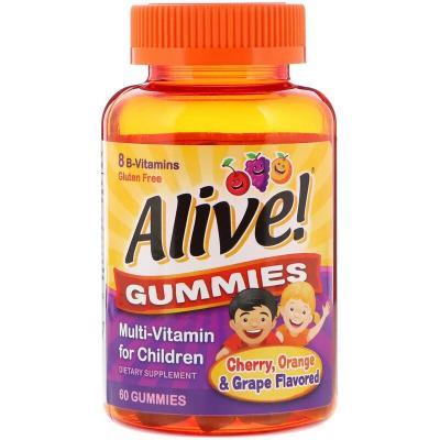 Мультивитамины для детей, со вкусом вишни, апельсина и винограда, Alive! Nature's Way, 60 жевательных конфет