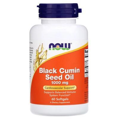 Масло черного тмина, Black Seed Oil, Now Foods, 1000 мг, 60 мягких капсул