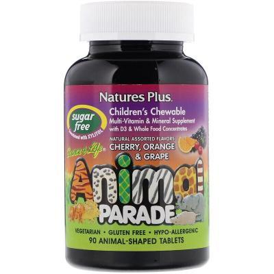Жевательные мультивитамины и минералы, Animal Parade, Source of Life, Nature's Plus, 90 таблеток в форме животных