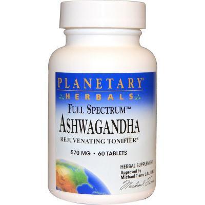 Полный спектр, ашваганда, Planetary Herbals, 570 мг, 60 таблеток