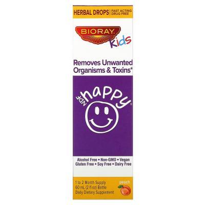 Удаляет нежелательные организмы и токсины, для детей, персиковый вкус, NDF Happy, Bioray, 60 мл (2 жидк. унции)
