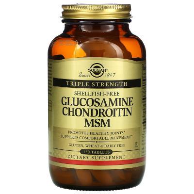 Глюкозамин Хондроитин МСМ тройная сила, Glucosamine Chondroitin MSM Triple Strength, Solgar, 120 таблеток