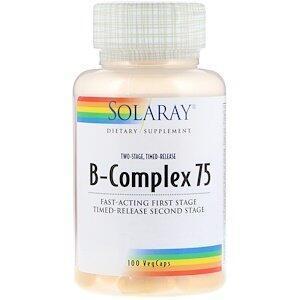 Комплекс В-75, B-Complex, Solaray, 100 капсул