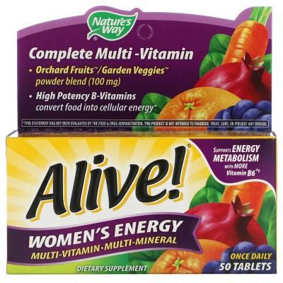 Мультивитамины и мультиминералы для женщин, Alive! Women's Energy Multivitamin-Multimineral, Nature's Way, 50 таблеток