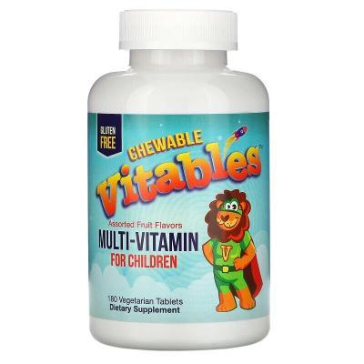 Мультивитамины для детей, со вкусами фруктов, Vitables, 180 вегетарианских таблеток