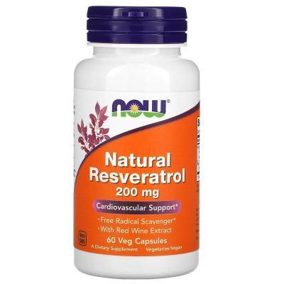 Натуральный ресвератрол, Resveratrol, Now Foods, 200 мг, 60 капсул