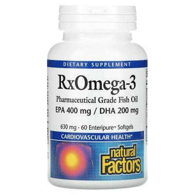 Омега-3, RxOmega-3, Natural Factors, 630 мг, 60 мягких таблеток
