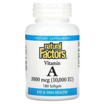 Витамин A, Vitamin A, Natural Factors, 3000 мкг, 180 капсул