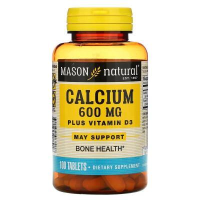 Кальций + Витамин Д3, Calcium Plus Vitamin D3, Mason Natural, 600 мг, 100 таблеток