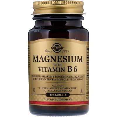 Магний с витамином В6, Magnesium with Vitamin B6, Solgar, 133/8 мг, 100 таблеток