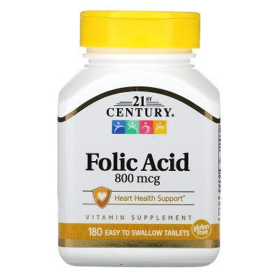 Фолиевая кислота, Folic Acid, 21st Century, 800 мкг, 180 таблеток