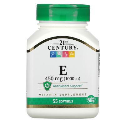 Витамин Е, Vitamin E, 21st Century, 450 мг, 55 капсул