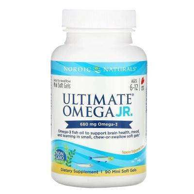 Рыбий жир для подростков, вкус клубники, Ultimate Omega Junior, Nordic Naturals, 680 мг, 90 капсул