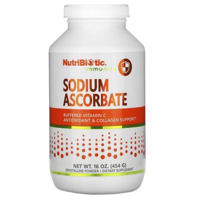 Аскорбат натрия, кристаллический порошок, Sodium Ascorbate, NutriBiotic, 454 г