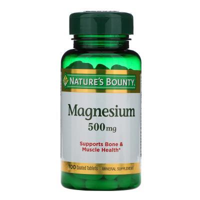 Магний, Magnesium, Nature's Bounty, 500 мг, 100 таблеток в оболочке