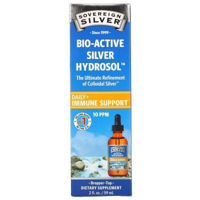 Серебро, Bio-Active Silver Hydrosol, с дозатором-пипеткой, Sovereign Silver, 10 част./млн, 59 мл