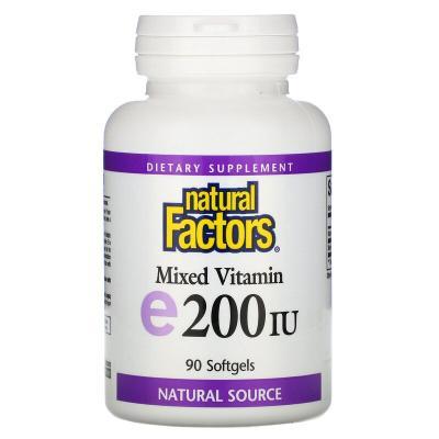 Смесь витаминов, витамин E, Mixed Vitamin E, Natural Factors, 200 МЕ, 90 мягких таблеток