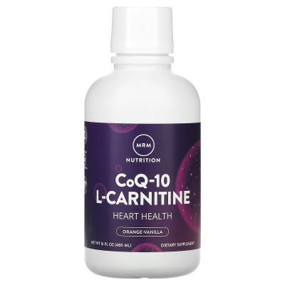 Жидкий коэнзим Q-10 и L-карнитин, апельсин и ваниль, Q-10 L-Сarnitine, MRM, 480 мл