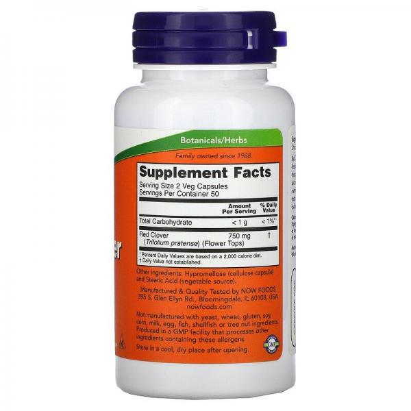 Красный клевер, Red Clover, Now Foods, 375 мг, 100 капсул