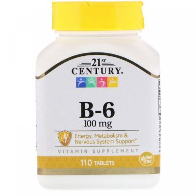 Витамин В6, Vitamin B-6, 21st Century, 100 мг, 110 таблеток